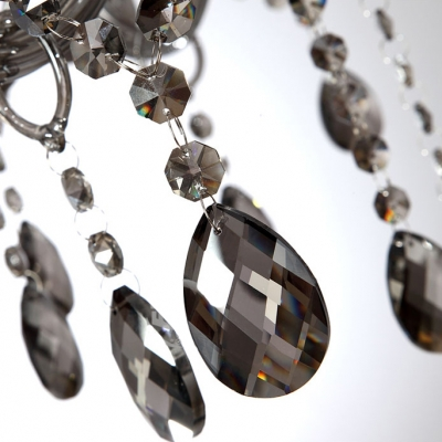 Smoky Gray Finely Hand Cut Crystal Chains and Drops 29.5