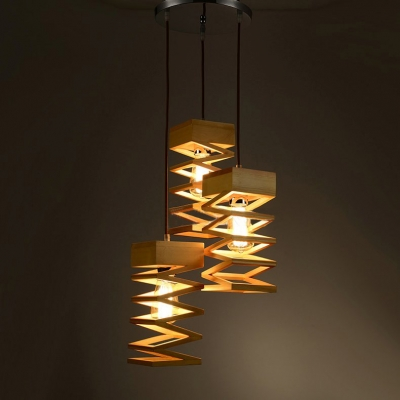 Spiral wood designer multi light pendant light with round canopy spiral wood designer multi light pendant light with round canopy three light aloadofball Images