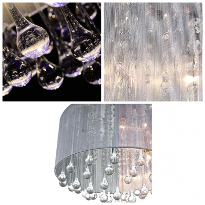 Stunning Crystal Teardrops Hang Together 6-Light Contemporary Style Flush Mount Lighting