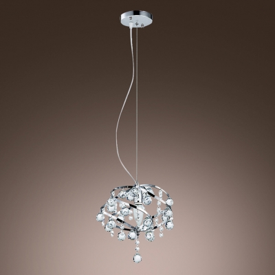 Swirling Chrome Finished Frame Hanging Sparkling Crystal Balls Mini Pendant Lighting