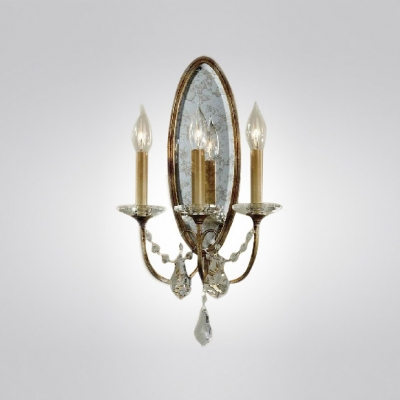 Three Light Wall Sconce Rich in Detailing and Adorned With Hand-polished Crystals