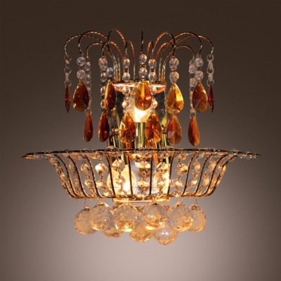 Unique Design Wall Sconce Shimmers and Sparkles with Lots of  Hand-cut Crystal