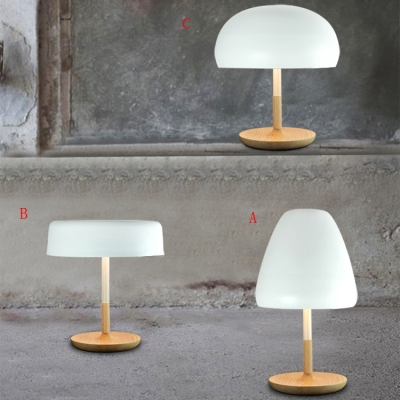 Wood Base and Soft White Metal Shade Mushroom Designer Table Lamps