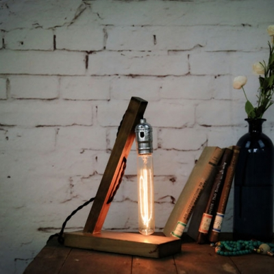 Wood Base Industrial LED Mini Table Lamp with Edison Bulb