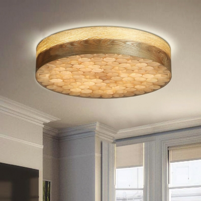 Wood Crafted Round Shape Flush Mount Ceiling Light