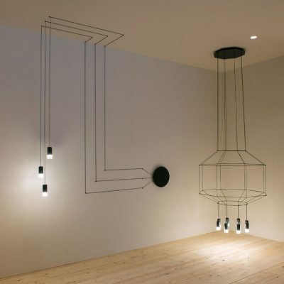 3-light Wire Designer Long Pendant Lighting - Beautifulhalo.com