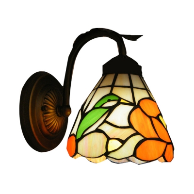 Auspicious Bird Theme Tiffany Wall Sconce with Wrought Iron Base
