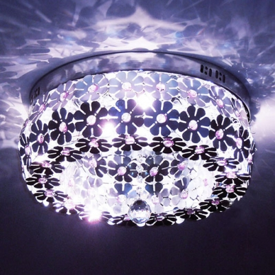 Beautiful and Elegant Plum Blossom Flush Mount Ceiling Light Features Eight Lights and Dazzling Clear Crystal Ball