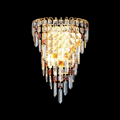Beautiful Polished Gold Banding Offers Gleaming Finish for Chic Crystal Wall Sconce