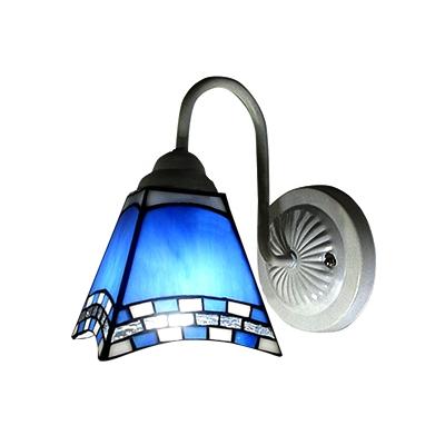 Blue and white art glass tiffany style one light wall sconce aloadofball Choice Image