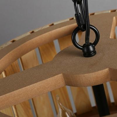 Bold Design Natural Style Wooden Caged Designer Large Pendant Light