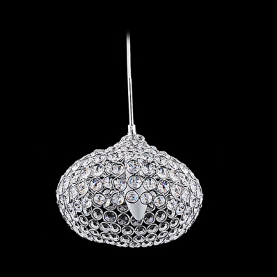 Bowl Shaped Mini Pendant Lighting Shine with Graceful Clear Crystals