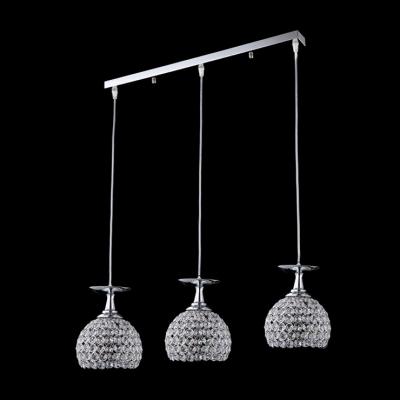 Brilliant Design Crystal Beaded Bowl Shade Multi-Light Pendant  with Rectangular Canopy