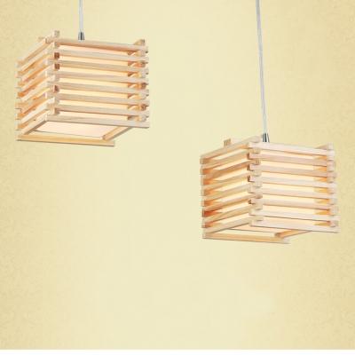 Brilliant Design Wood Cage And Cube Shaped Designer Multi Light Pendant