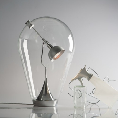 Bulb Shaped  Glass Lovely Designer Table Lamps Clear Hand-Blown
