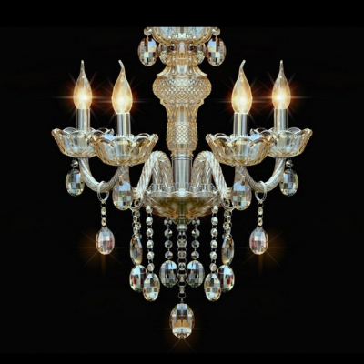 Chic and Lovely Crystal Scrolled Arms 4-Light Foyer Chandelier Lighting
