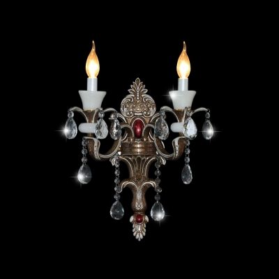 Elegant European Style Two Light Clear Crystal Wall Light Fixture