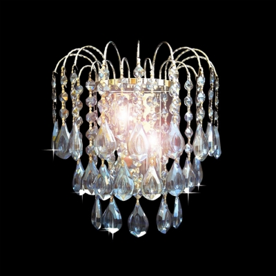 Eye-catching Double Light Wall Sconce Features Beautiful Blue Crystals