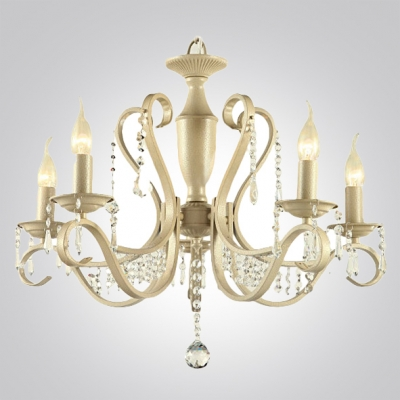 Five Lights Soft and Romantic Beige Finish Chandelier Draped By Crystal Droplets