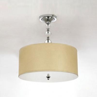 Gracefully Linen Drum Shade and Glittering Crystal Balls Semi Flush Mount Lighting