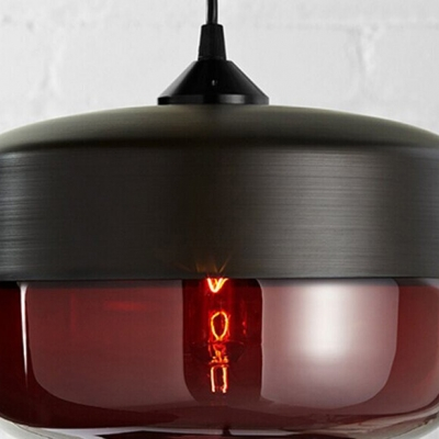 Industrial Tank Shade Black Socket Colored Pendant Light