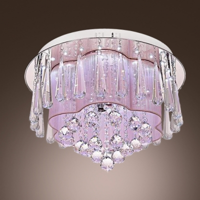 Crystal Drops Hanging Outer Pink Silken Inner Shade Crystal