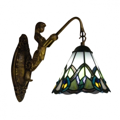 Mermaid Wall Sconce Features beautiful Peacock Tail Pattern Tiffany Glass Shade