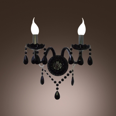 Mysterious European Style Wall Sconce Features Cool Black Finish and Two Candelabra Lights