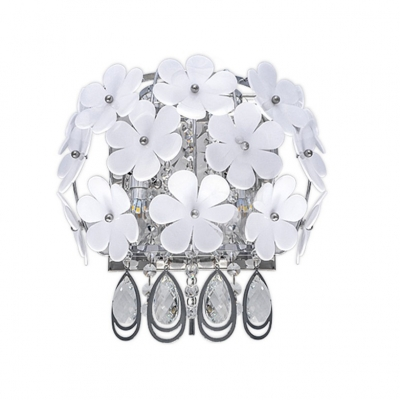 Nature-Inspired White Flower Decoration Embraced Stainless Steel Frame and Beautiful Crystal Drops Give Sparkling Wall Washer Exquisite Look for Bedroom