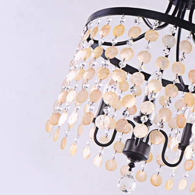 Seaside Shells and Clear Crystal Beads Romantic Large Pendant Hanging A Crystal Ball