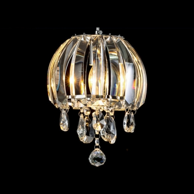 Shining Single-light Mini Pendant Light Features Distinctive Crystal Shade with Gleaming Crystal Beads