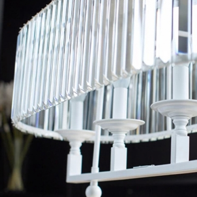Simple But Fashin Island Lighting Completed with Faceted Crystals and White Finish Metal Frame