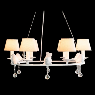 Six light graceful round band glittering crystal balls accented chandelier add romantic for your home