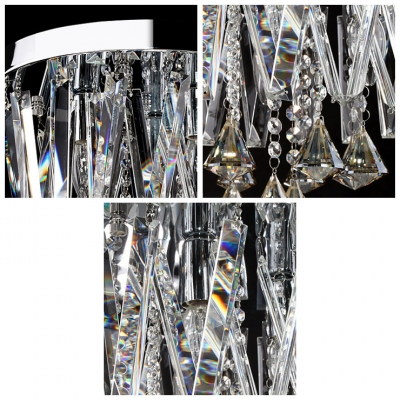Sparkling Hand Cut Crystal Drops and Round Canopy Modern 13.7