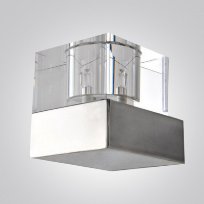 Spectacular Single Light Wall Sconce Features Stunning Clear Crystal Shade and Polished Steel Finish Base