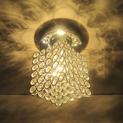 Square Design Crystal Semi Flush Mount Ceiling Light With