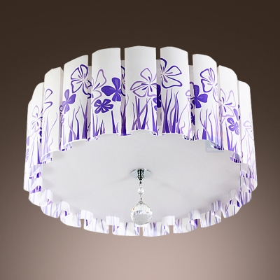 Stunning Flush Mount Ceiling Light Features Wavy Shade Printed Purple Grass Pattern and Clear Crystal Drop