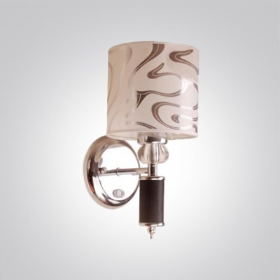Timeless Wall Light Fixture Features Polished Chrome Finish Details and White Fabric Bell Shade