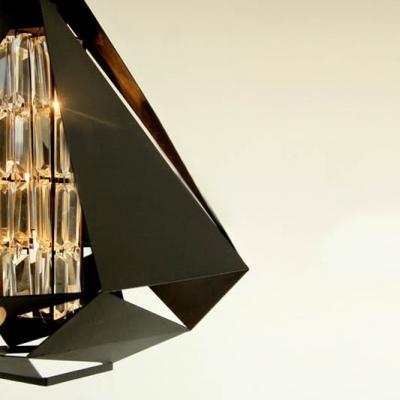 Triangular Lolita Metal Etched Mini Pendant in Black