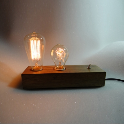 Vintage Wood Industrial Accent LED Table Lamp with 2 Edison Bulbs