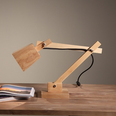 High Cube Shaded Swing Arm Elegant Designer Wood Table Lamp 20.8""