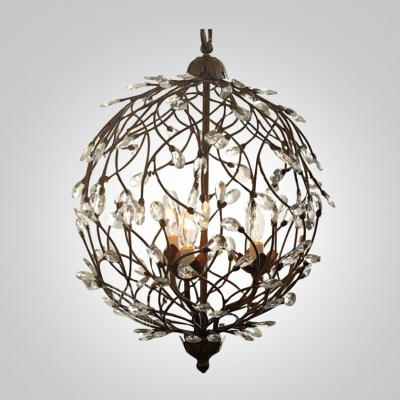 Antique Bronze Rustic Iron Branches Faceted Crystal Accents Orb Shaped Large Pendant Light