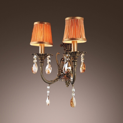 Brautiful Wrought Iron Arms and Orange Fabric Shades Creates Stunning Wall Sconce