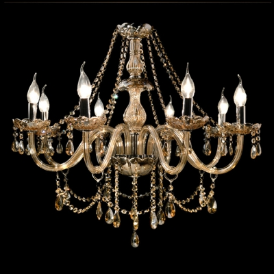 Bright clear crystal strands waterfall 8 candle lights classic bright clear crystal strands waterfall 8 candle lights classic chandelier aloadofball Images