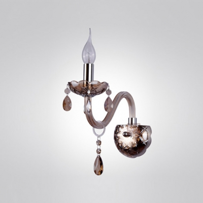 Brilliant Crystal Wall Sconce Personifies Graceful Scrolling and Amber Crystal Drops