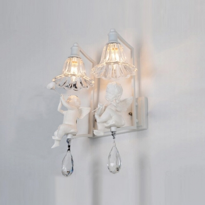 Charming Double Light Wall Sconce Adorned with Pure Angles and Beautiful Crystal Drops ... & Charming Double Light Wall Sconce Adorned with Pure Angles and ...