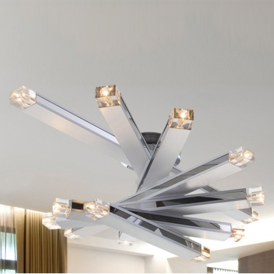 Concise Chrome Finished LED 14-light Modern  Flush Mount