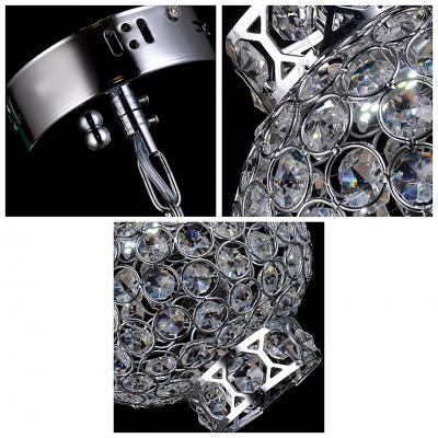 Contemporary Chrome Finish Metal Sphere Frame Glimmering Crystals Lantern Mini Pendant