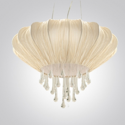 Contemporary Four-light Large Pendant Features Strands of Crystal Beads Embracing with Beige Lantern Fabric Shape