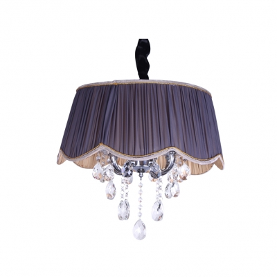 Contouring Trim Sheer Pleated Purple Shade Contemporary Crystal Chandelier